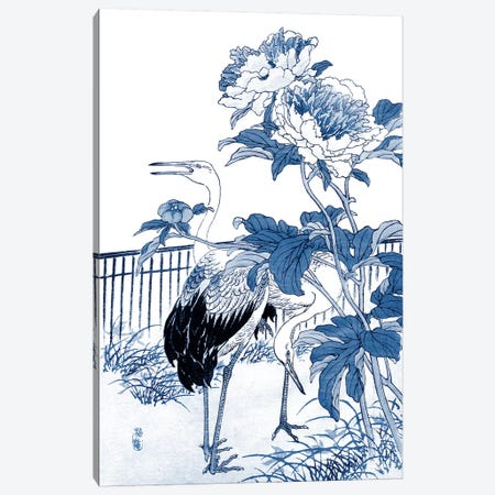Blue & White Asian Garden I Canvas Print #VSN56} by Vision Studio Canvas Art