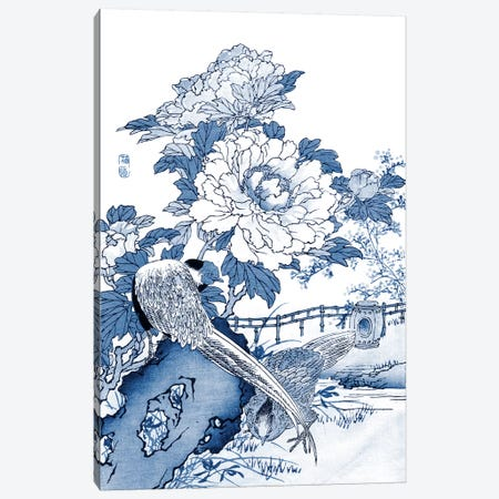 Blue & White Asian Garden II Canvas Print #VSN57} by Vision Studio Canvas Artwork