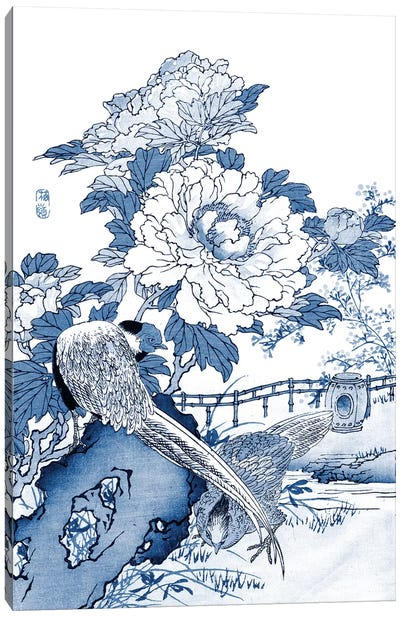 Blue & White Asian Garden II Canvas Art Print