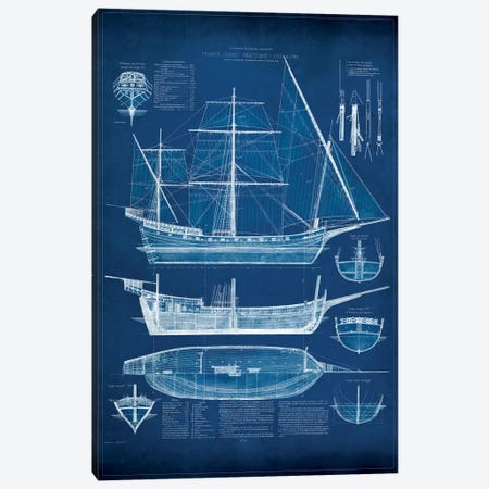 Antique Ship Blueprint I Canvas Print #VSN5} by Vision Studio Canvas Art
