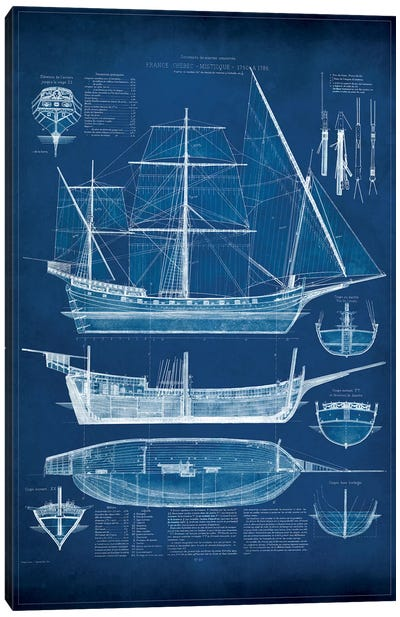 Antique Ship Blueprint I Canvas Art Print