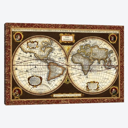 Decorative World Map Canvas Print #VSN62} by Vision Studio Canvas Wall Art