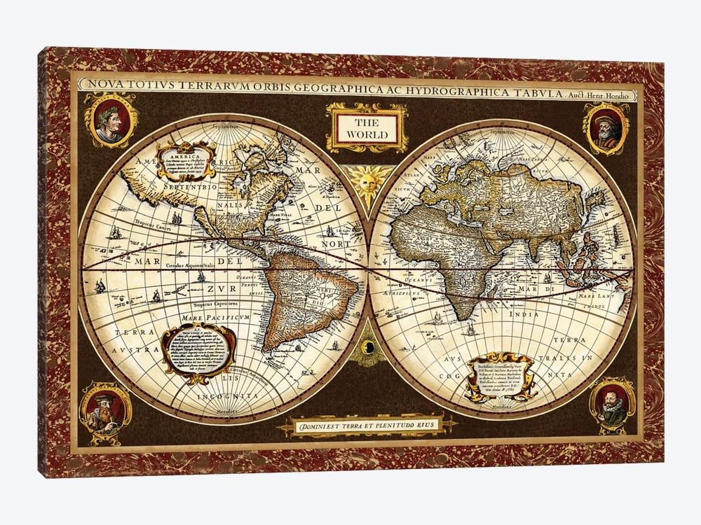 Decorative World Map by Vision Studio 1-piece Canvas Art