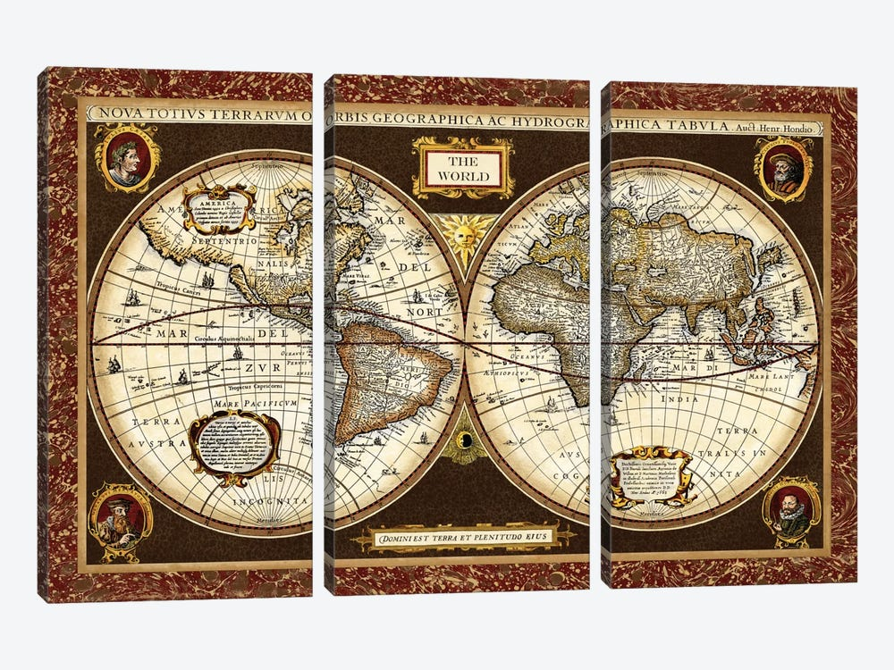 Decorative World Map by Vision Studio 3-piece Canvas Art