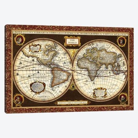 Decorative World Map Canvas Print #VSN62} by Vision Studio Canvas Wall Art