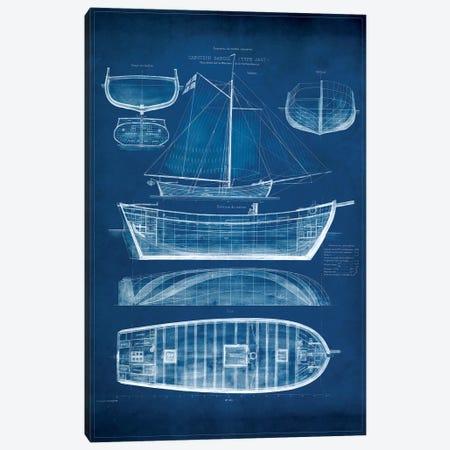 Antique Ship Blueprint II Canvas Print #VSN6} by Vision Studio Canvas Wall Art