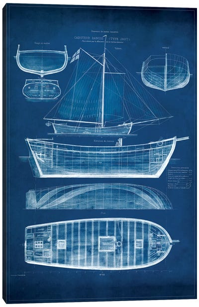 Antique Ship Blueprint II Canvas Art Print