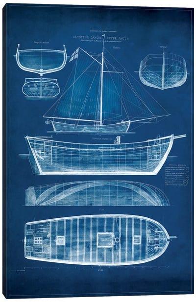 Antique Ship Blueprint II Canvas Art Print