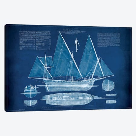 Antique Ship Blueprint III Canvas Print #VSN7} by Vision Studio Canvas Art