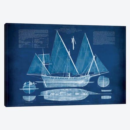 Antique Ship Blueprint III Canvas Print #VSN7} by Vision Studio Canvas Art