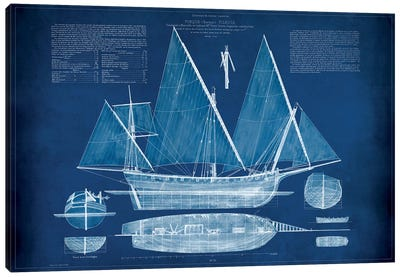 Antique Ship Blueprint III Canvas Art Print