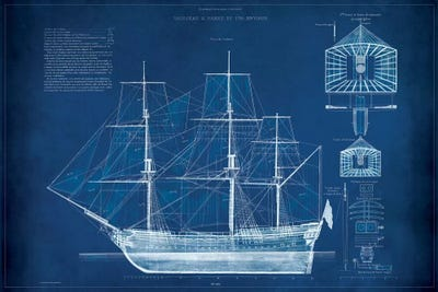 Antique ship blueprint iv art print by vision studio icanvas canvas malvernweather Gallery