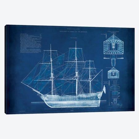 Antique Ship Blueprint IV Canvas Print #VSN8} by Vision Studio Canvas Print