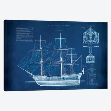 Antique Ship Blueprint IV Canvas Print #VSN8} by Vision Studio Canvas Print