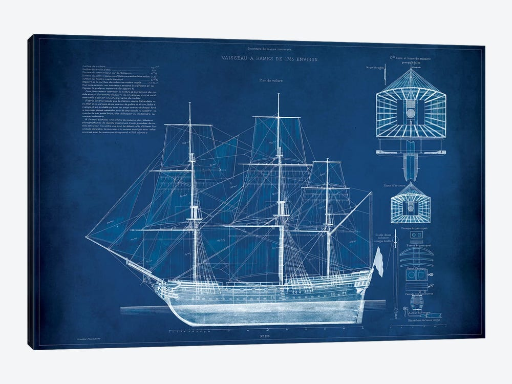 Antique Ship Blueprint IV by Vision Studio 1-piece Canvas Wall Art