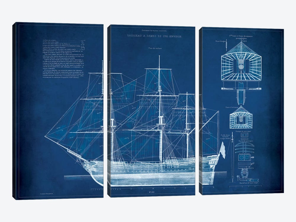 Antique Ship Blueprint IV by Vision Studio 3-piece Canvas Wall Art