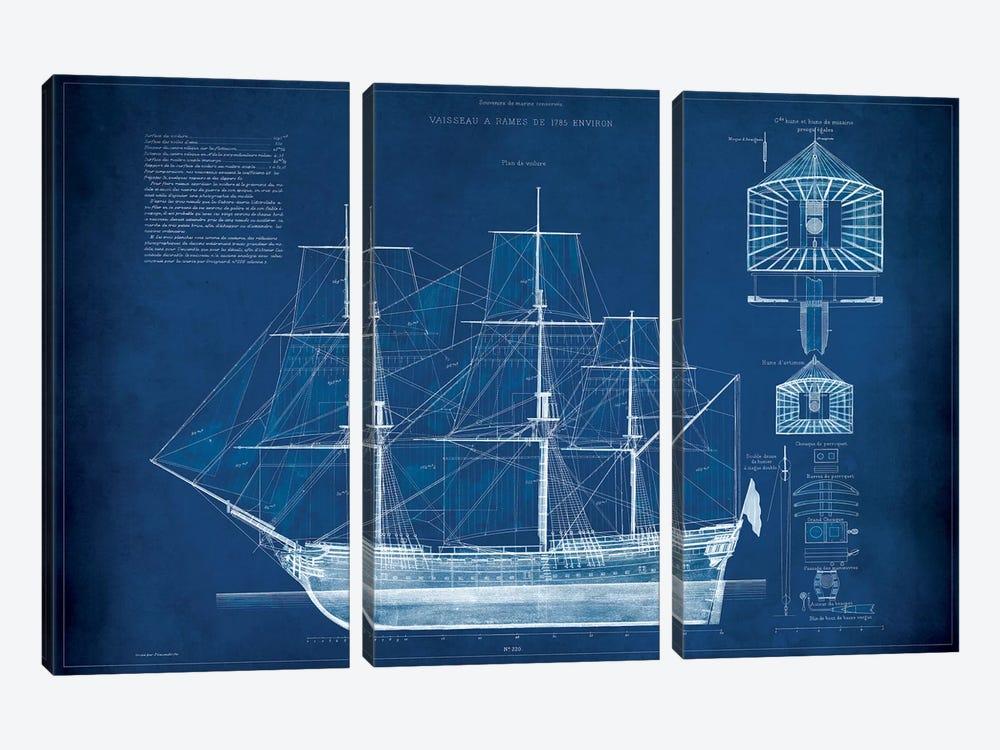 Antique Ship Blueprint IV by Vision Studio 3-piece Canvas Wall Art