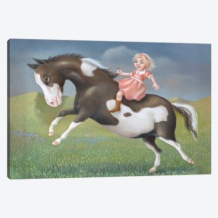 Little Girl On A Pony Canvas Print #VSS19} by Suzan Visser Canvas Artwork