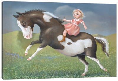 Little Girl On A Pony Canvas Art Print