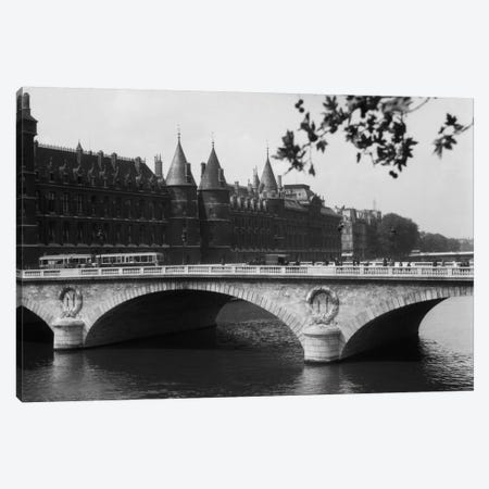 1930s Hotel De Ville And Bridge On River Seine Paris France Canvas Print #VTG100} by Vintage Images Canvas Art Print