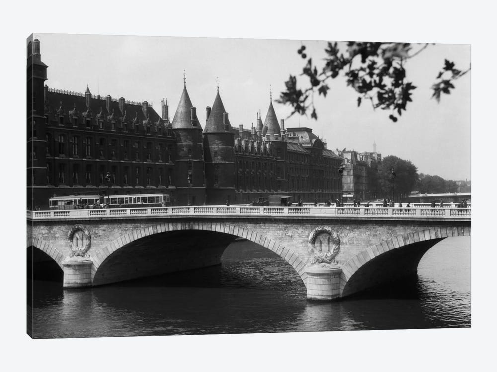 1930s Hotel De Ville And Bridge On River Seine Paris France by Vintage Images 1-piece Canvas Art Print