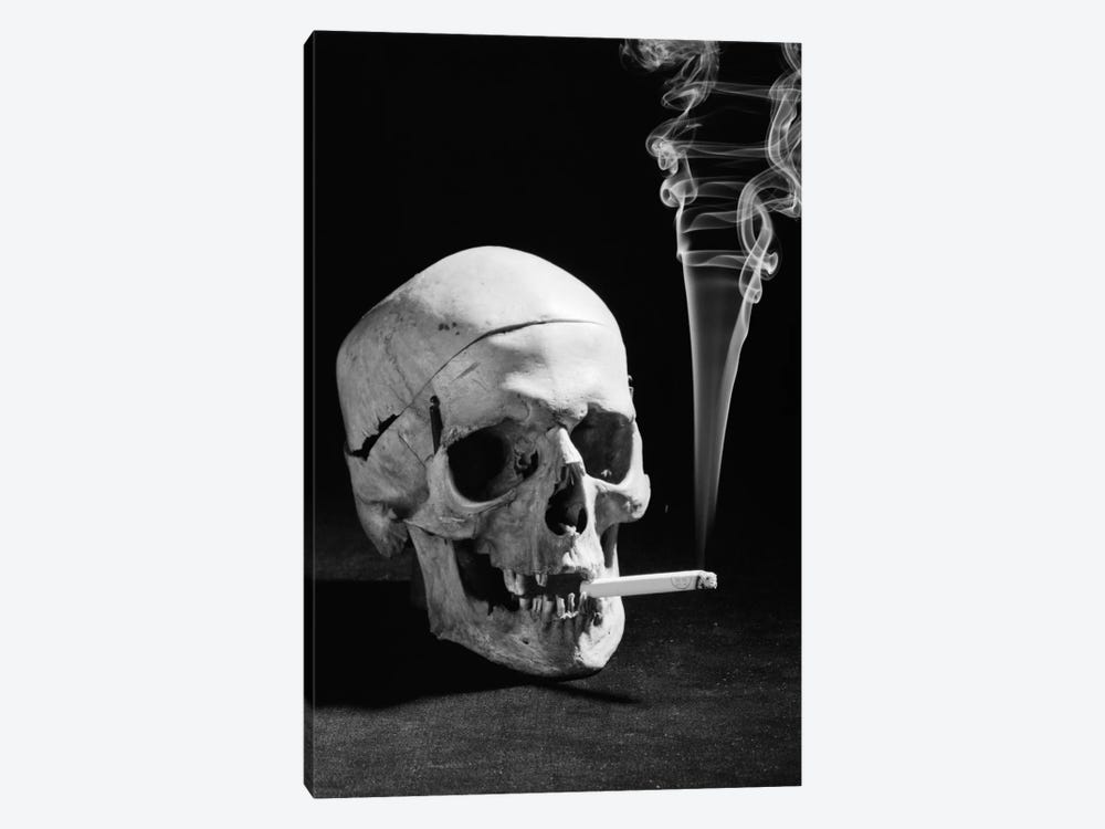 1930s Human Skull Smoking A Cigarette by Vintage Images 1-piece Canvas Wall Art