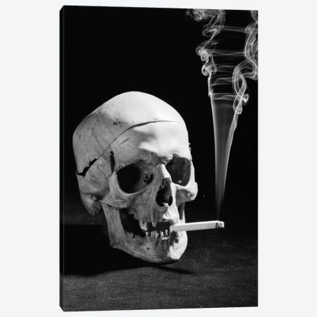 1930s Human Skull Smoking A Cigarette Canvas Print #VTG101} by Vintage Images Canvas Art Print