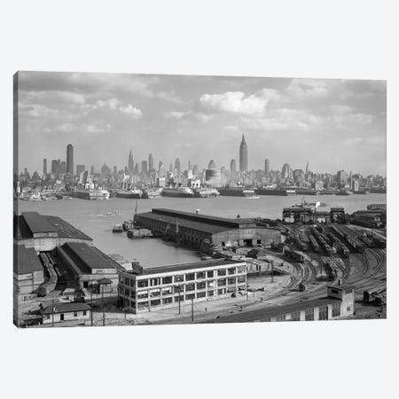 1930s Manhattan NYC Skyline Rockefeller Center To 14th Street And Ocean Liners View From Weehawken NJ USA Canvas Print #VTG105} by Vintage Images Canvas Wall Art