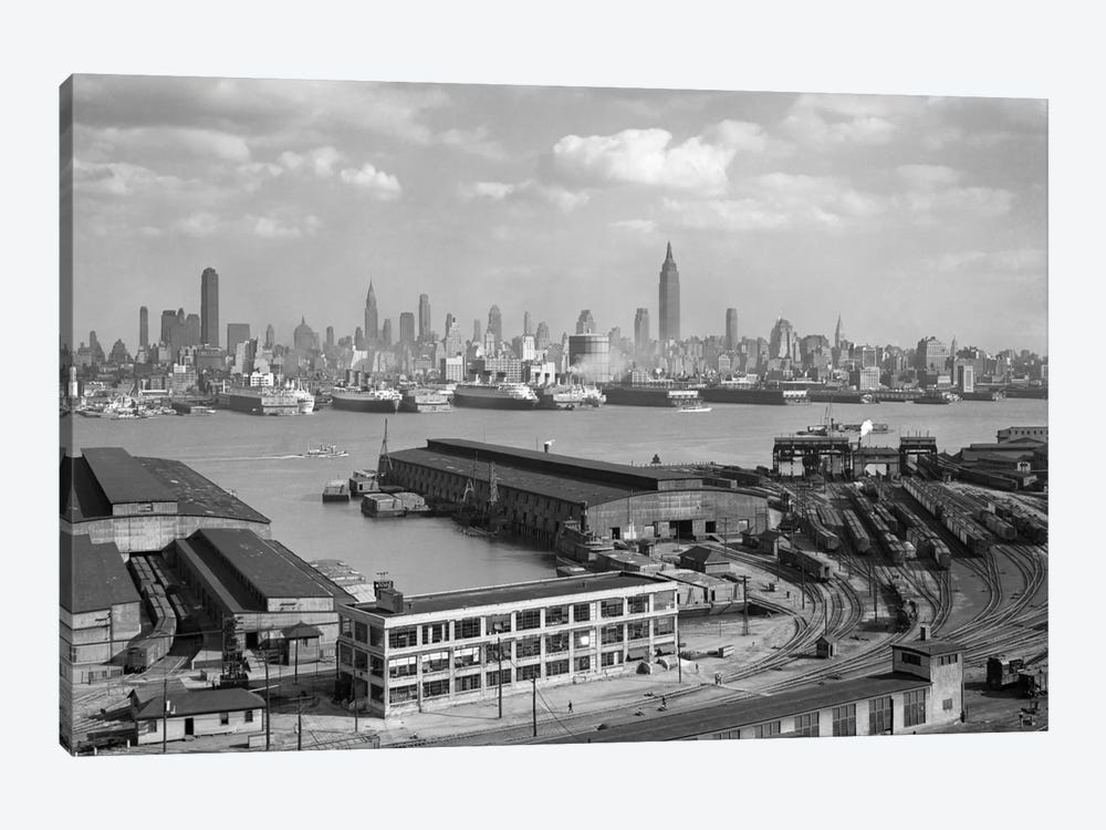 1930s Manhattan NYC Skyline Rockefeller Center To 14th Street And Ocean Liners View From Weehawken NJ USA by Vintage Images 1-piece Canvas Art