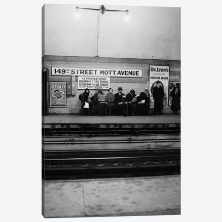1930s Men And Women Waiting For Subway Train 149Th Street Mott Avenue Bronx New York City Canvas Print #VTG106} by Vintage Images Canvas Art