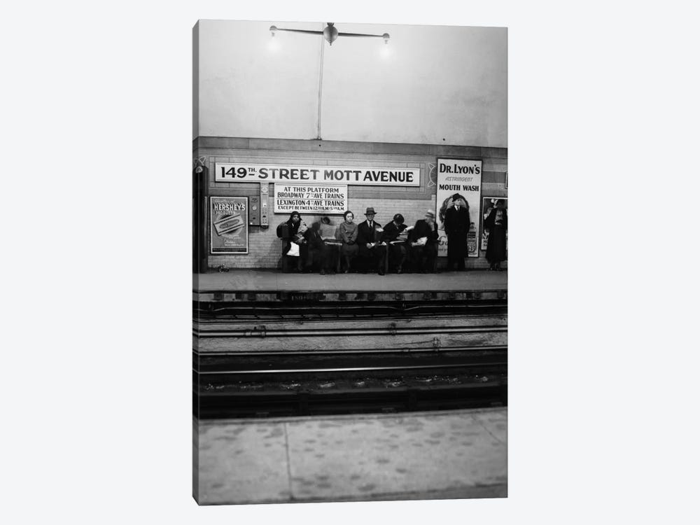 1930s Men And Women Waiting For Subway Train 149Th Street Mott Avenue Bronx New York City by Vintage Images 1-piece Canvas Art Print