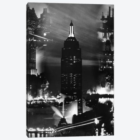 1930s Montage Of New York City Buildings At Night With Empire State Building In Center Canvas Print #VTG107} by Vintage Images Canvas Wall Art