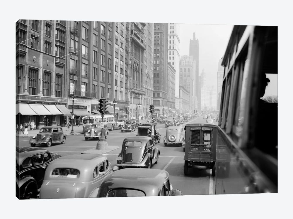 1930s Morning Traffic On Michigan Avenue Chicago Illinois USA by Vintage Images 1-piece Canvas Art Print