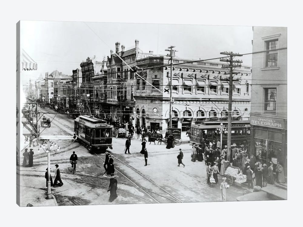 1900s Intersection Of Fair Oaks And Colorado Streets Cable Cars Horse And Buggies Pasadena California USA by Vintage Images 1-piece Canvas Art Print