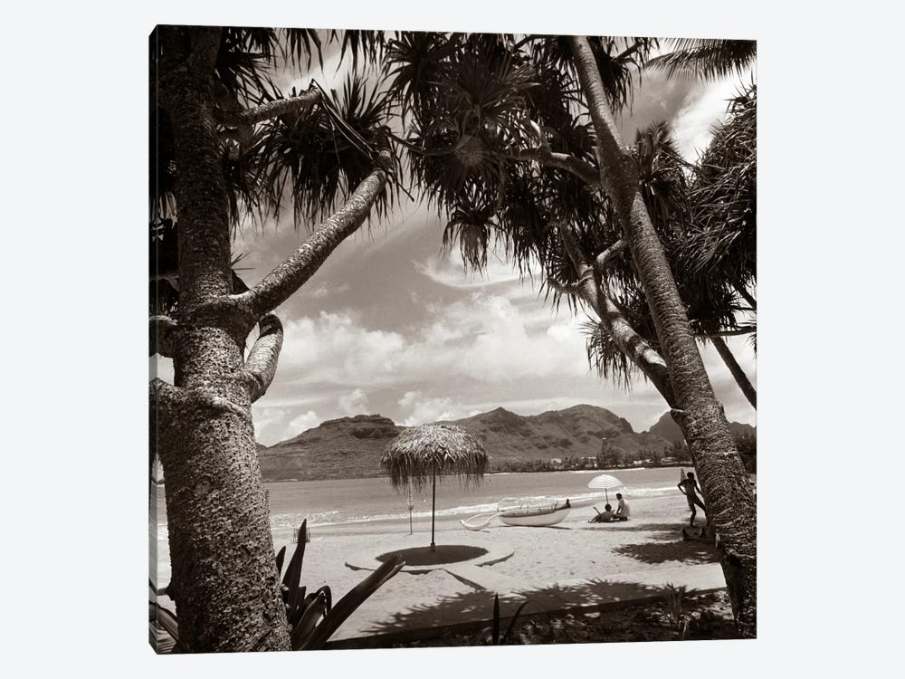1930s Mountains Beach Relaxing Vacation Sun Sunshine Umbrella Boat Canoe Shore Clouds Silhouette Couple by Vintage Images 1-piece Canvas Art