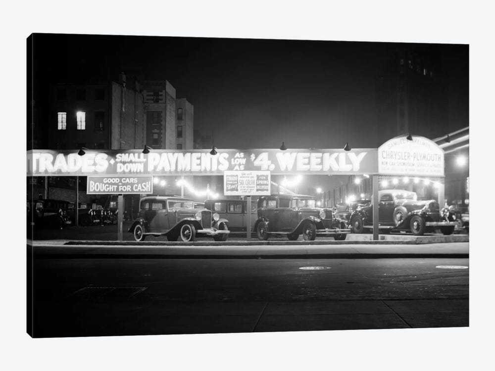 1930s New And Used Car Lot At Night Automobile Sales Sixth Avenue & Waverly Street Greenwich Village New York City USA by Vintage Images 1-piece Canvas Art Print