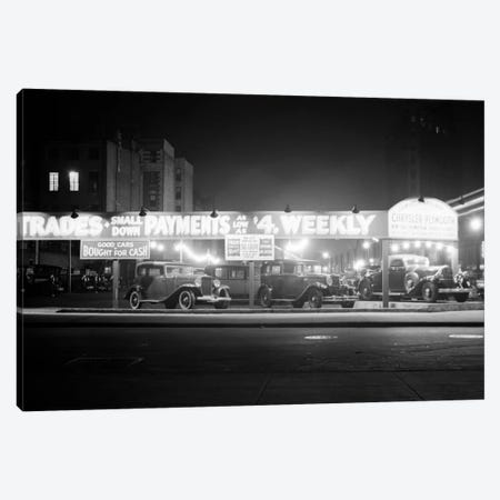 1930s New And Used Car Lot At Night Automobile Sales Sixth Avenue & Waverly Street Greenwich Village New York City USA Canvas Print #VTG113} by Vintage Images Canvas Art