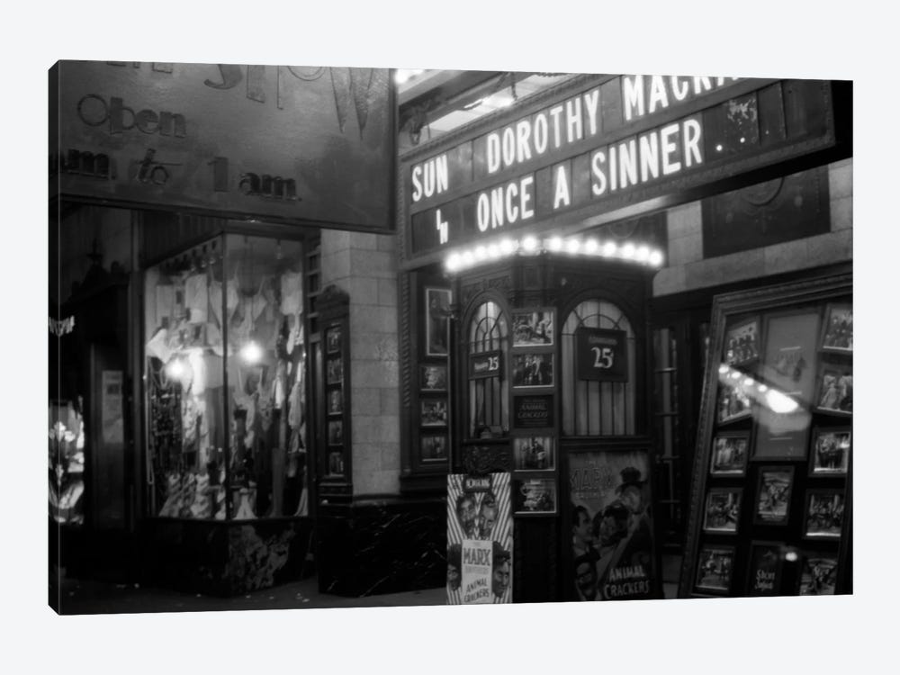 1930s New York City 8Th Avenue And 58Th Street The Columbus Neighborhood Movie House Marquee And Ticket Booth At Night by Vintage Images 1-piece Canvas Art