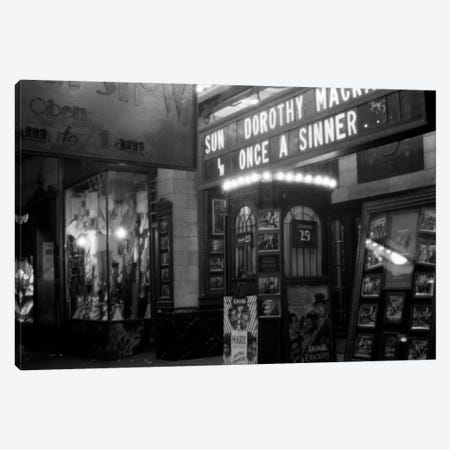 1930s New York City 8Th Avenue And 58Th Street The Columbus Neighborhood Movie House Marquee And Ticket Booth At Night Canvas Print #VTG114} by Vintage Images Art Print