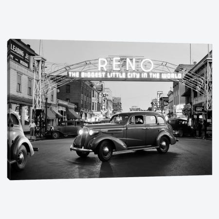 1930s Night Of Arch Over Main Street Reno Nevada Neon Sign The Biggest Little City In The World Canvas Print #VTG116} by Vintage Images Art Print