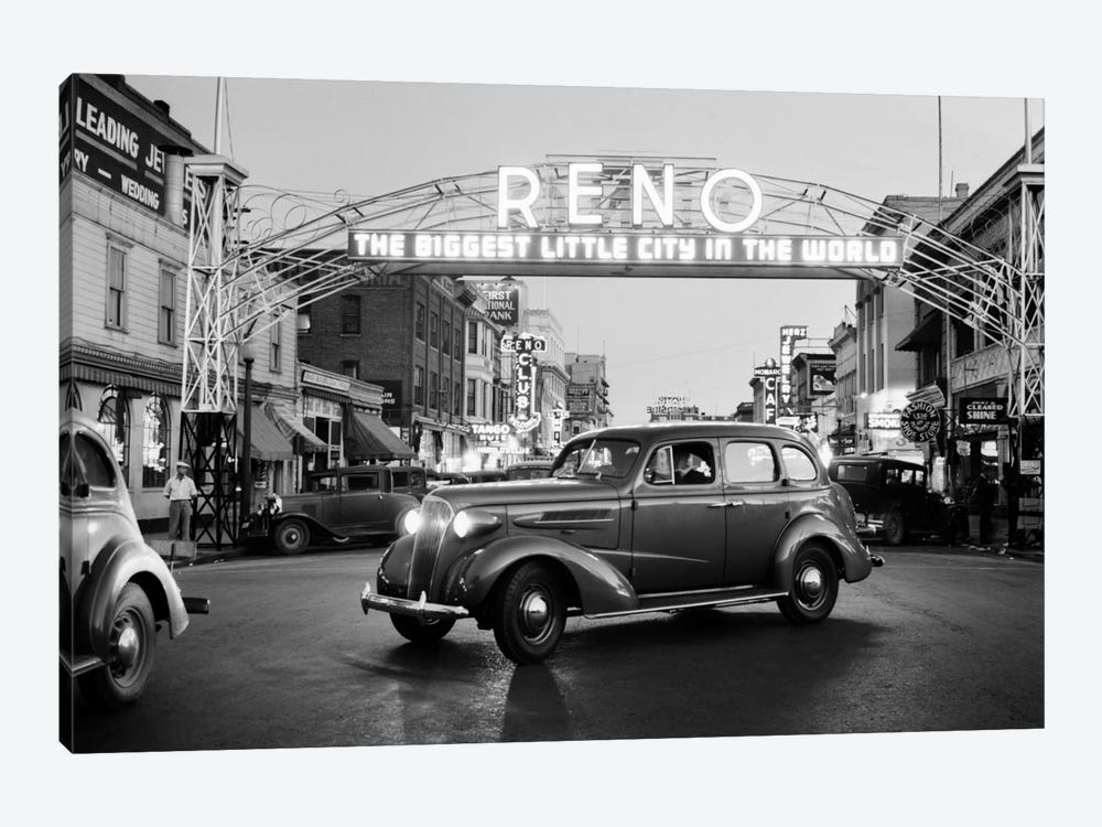 1930s Night Of Arch Over Main Street Reno Nevada Neon Sign The Biggest Little City In The World by Vintage Images 1-piece Canvas Artwork