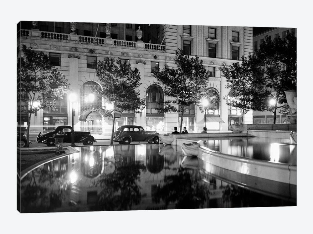 1930s Night Scene 5Th Avenue Tree Lined Sidewalk Cars Anonymous Silhouetted Men Reflecting Water In Pulitzer Fountain NYC USA 1-piece Art Print