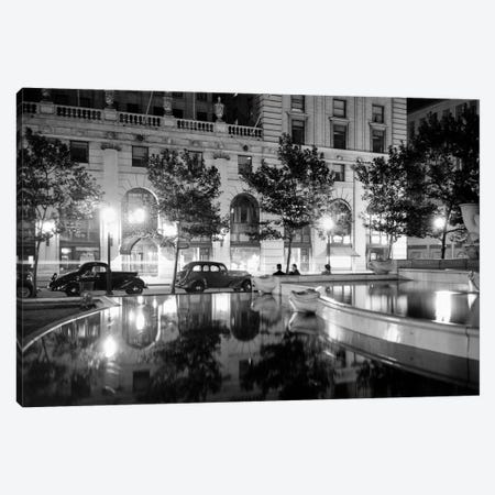 1930s Night Scene 5Th Avenue Tree Lined Sidewalk Cars Anonymous Silhouetted Men Reflecting Water In Pulitzer Fountain NYC USA Canvas Print #VTG117} by Vintage Images Canvas Art Print