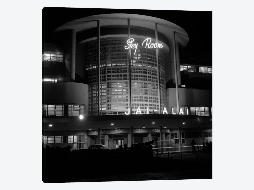 1930s Night Shot Of Jai Alai Nightclub Club The Sky Room Art Deco Building Manila Philippine Islands Philippines by Vintage Images 1-piece Canvas Wall Art