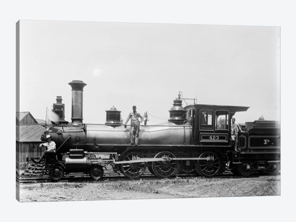 1900s Three Men Workers Standing On Train Steam Engine by Vintage Images 1-piece Canvas Artwork