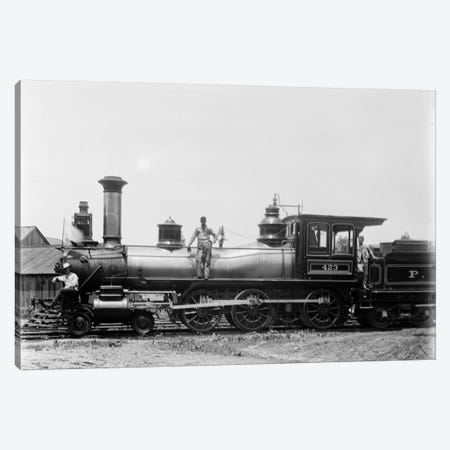 1900s Three Men Workers Standing On Train Steam Engine Canvas Print #VTG11} by Vintage Images Canvas Art Print
