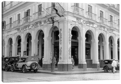 1930s Outside Facade Of Sloppy Joe's Bar Said To Be Origin Of Sloppy Joe Sandwich Old Havana Cuba Canvas Art Print