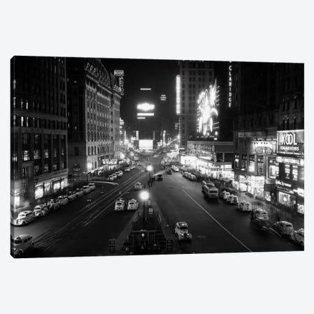 1930s Overhead Of Times Square Lit Up At Night With Cars Lining Curbs NYC NY USA Canvas Print #VTG121} by Vintage Images Canvas Art Print