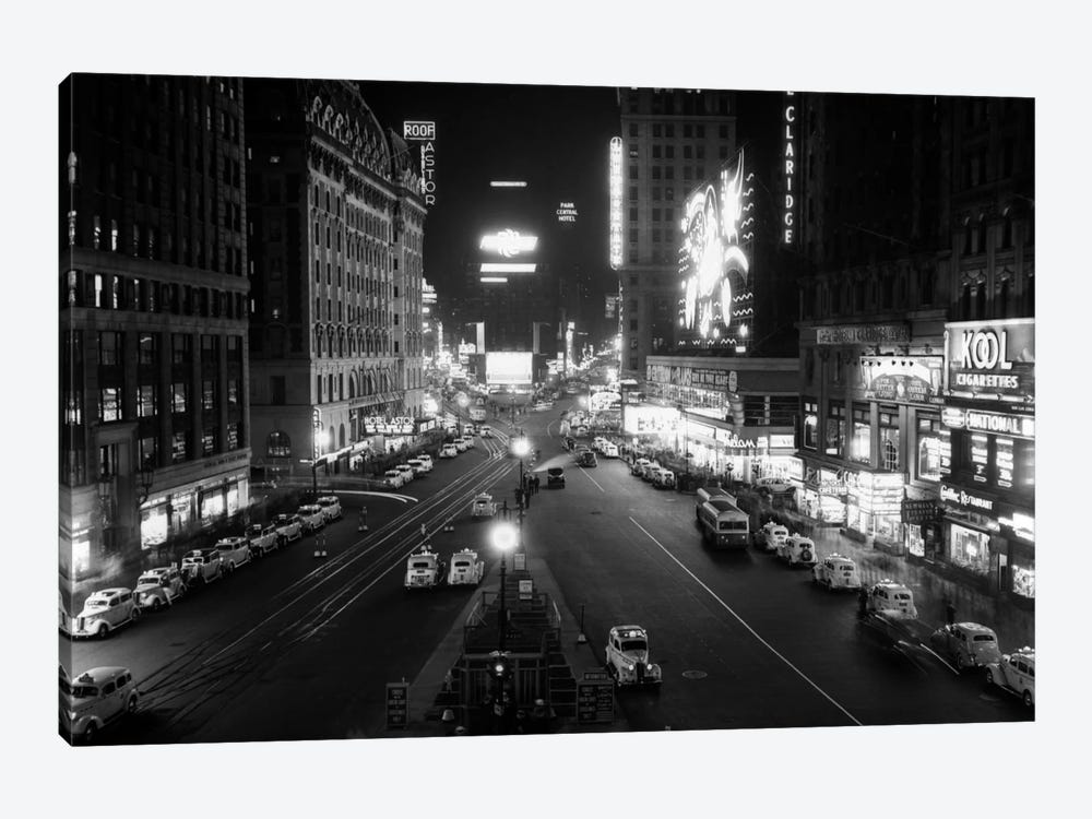 1930s Overhead Of Times Square Lit Up At Night With Cars Lining Curbs NYC NY USA by Vintage Images 1-piece Canvas Wall Art