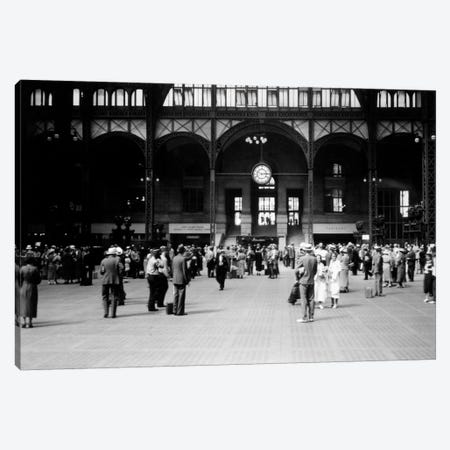 1930s Pennsylvania Penn Station New York City Railroad Station People Passengers Travelers Transportation Canvas Print #VTG123} by Vintage Images Canvas Print
